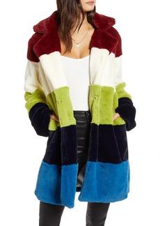 BLANKNYC Super Nova Colorblock Faux Fur Jacket