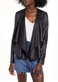 BLANKNYC Textured Drape Front Faux Leather Jacket