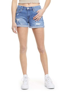 BLANKNYC The Fulton Ripped Roll-Up Denim Shorts