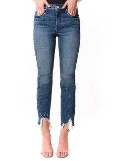 BLANKNYC The Madison Ripped Fray Hem High Waist Crop Straight Leg Jeans (My Type)