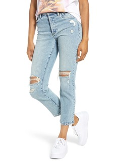 BLANKNYC The Madison Ripped Straight Leg Crop Jeans (Lone Castaway)