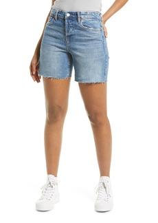 BLANKNYC The Warren Frayed Hem Longline Denim Shorts (Forget It)