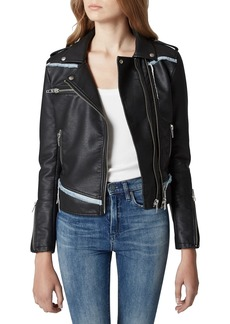 BLANKNYC Thrasher Denim Trim Faux Leather Moto Jacket