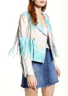 BLANKNYC Tie Dye Faux Leather Fringe Jacket