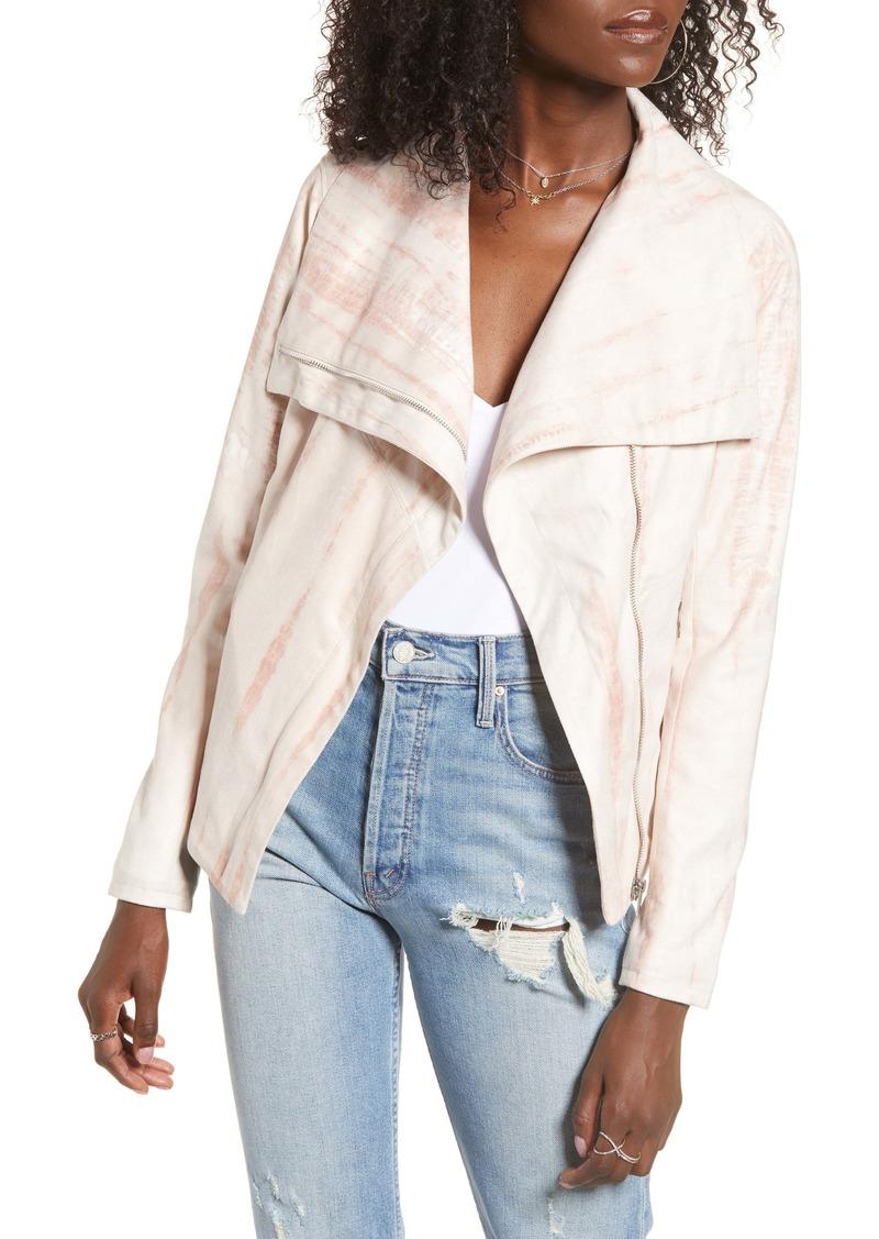 BLANKNYC Tie Dye Faux Suede Drape Front Jacket