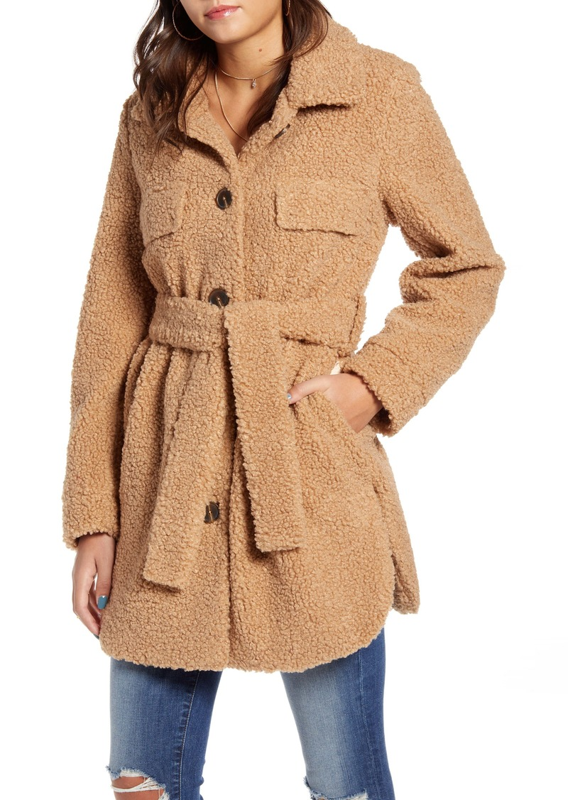 BLANKNYC Toffee Faux Shearling Belted Coat