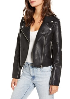 BLANKNYC Tonal Star Faux Leather Moto Jacket