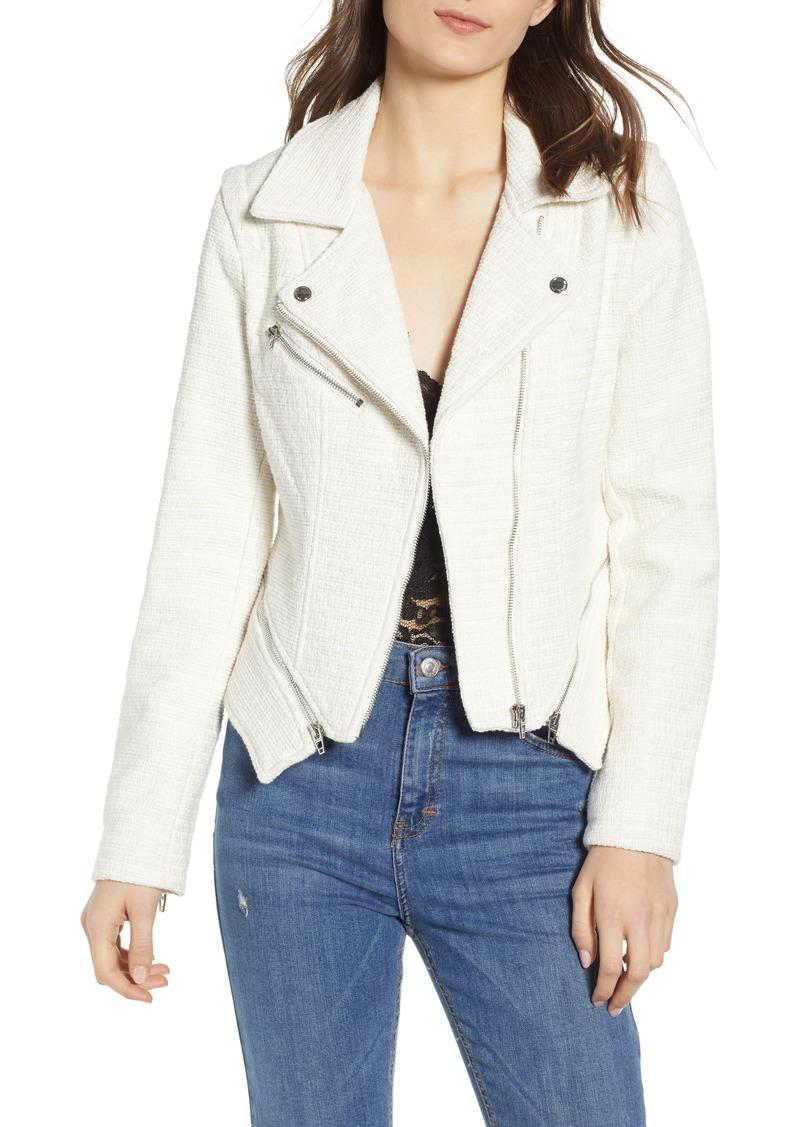 BLANKNYC Tweed Fitted Zipper Moto Jacket