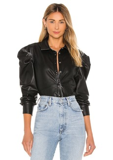 BLANKNYC Vegan Leather Big Shoulder Top