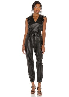 BLANKNYC Vegan Leather Flutter Sleeve Jumpsuit