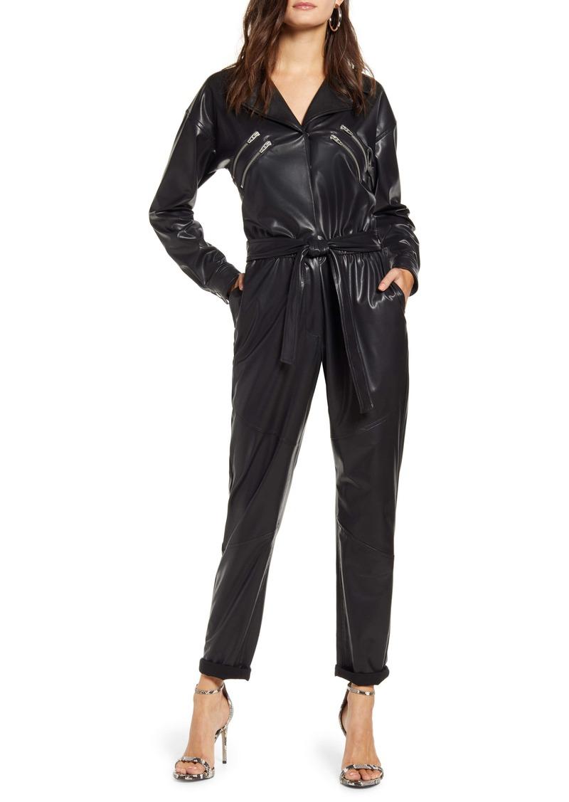 BLANKNYC Faux Leather Long Sleeve Boilersuit