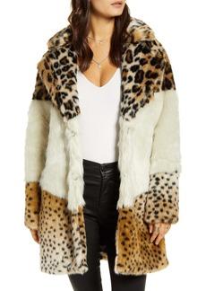 BLANKNYC Weekend Vibes Mixed Print Faux Fur Coat