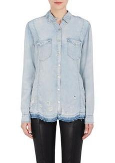 BLANKNYC Women's Distressed Denim Button-Front Shirt