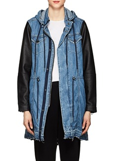 BLANKNYC Women's High & Dry Denim & Faux-Leather Jacket