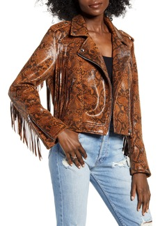 BLANKNYC Word of Mouth Snake Print Faux Leather Jacket