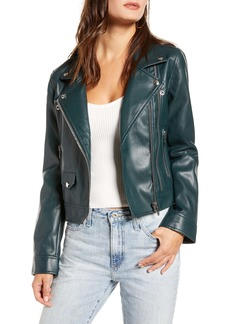 BLANKNYC Zipper Detail Faux Leather Moto Jacket