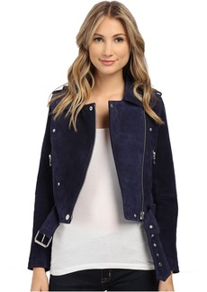 Blue Suede Moto Jacket in Deep Blue/Navy