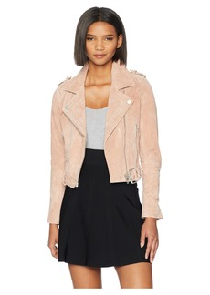 Blank Blush Pink Suede Moto Jacket in Candy Crush
