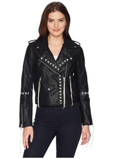 Blank Bonded Vegan Leather Jacket with Lacing Detail in Second Chances