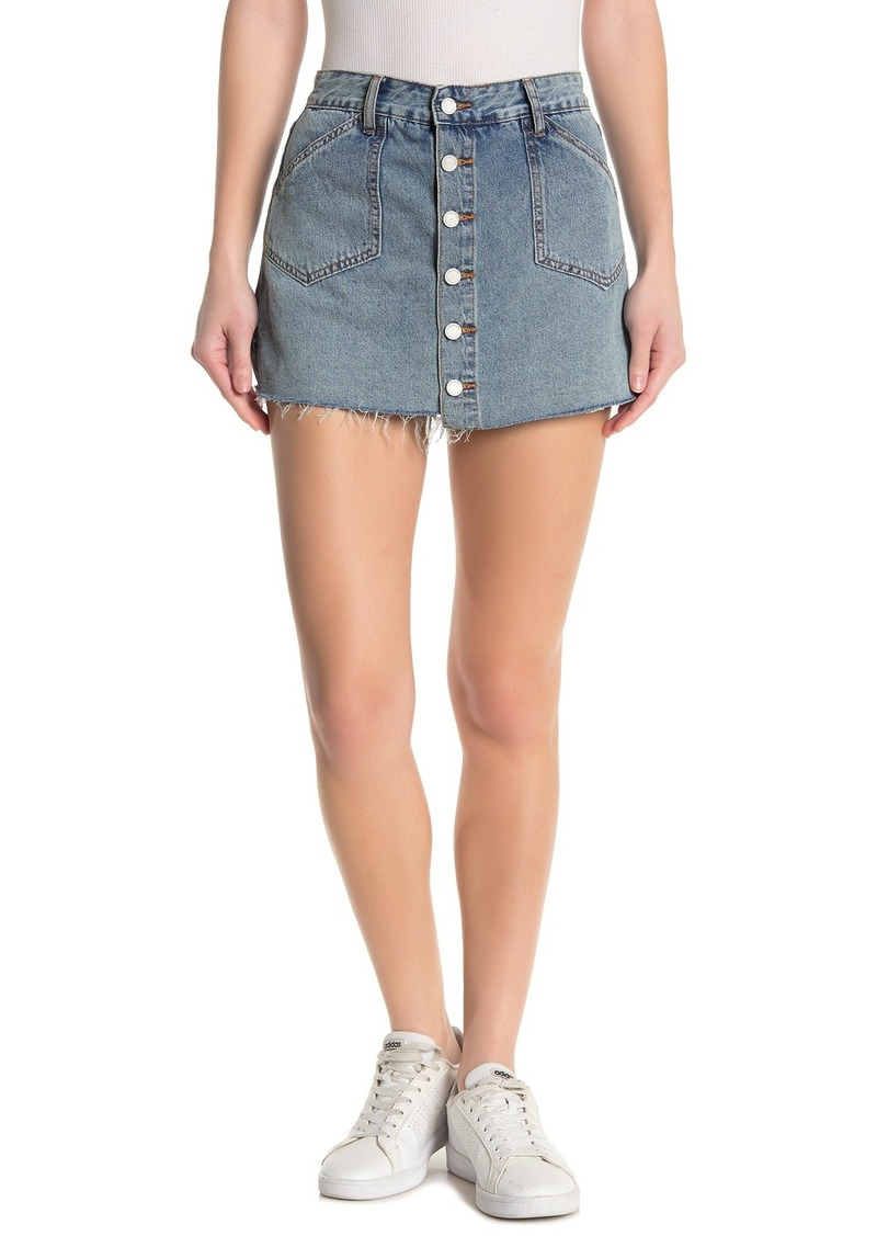 Blank Button Front Denim Skort