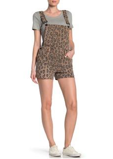 Blank Cheetah Print Denim Short Overalls