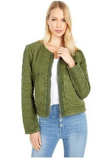 Blank Collarless Quilted Jacket with Zipper Closure