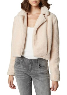 Blank Cropped Faux-Fur Jacket