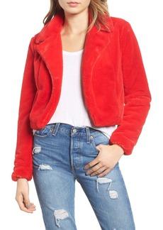 Blank Cropped Faux Fur Jacket