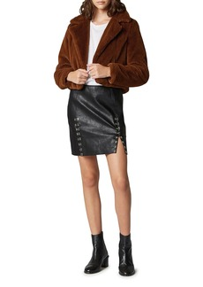 Blank Cropped Faux-Fur Open-Front Jacket