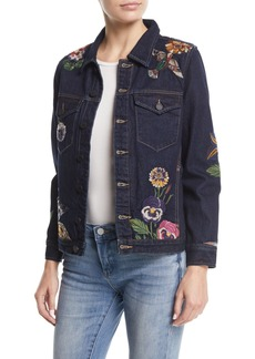 Blank Culture Vulture Button-Front Floral-Embroidered Denim Jacket
