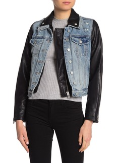 Blank Denim & Faux Leather Moto Jean Jacket