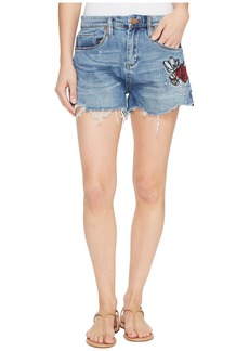 Blank Denim Cut Off Shorts with Embroidered Detail in Inside Joker