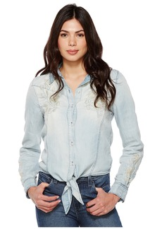 Blank Denim Embroidered Shirt with Knotting Detail in Washed Up