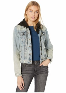 Blank Denim Jacket with Hood in Casual Encounter