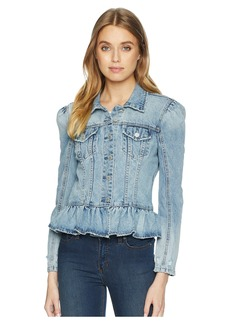 Blank Denim Jacket with Ruffle Detail in Situationship