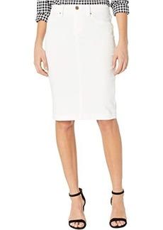 Blank Denim Pencil Skirt in Great White