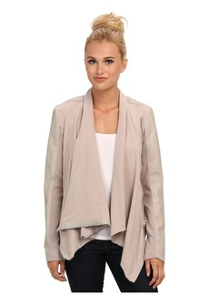 Blank Draped Vegan Leather and Ponte Jacket in Taupe