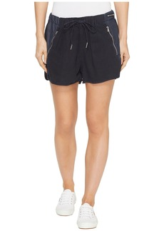 Blank Drawstring Shorts with Zipper Detail in Midnight Hour