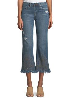 Blank Embellished Cropped Kick-Flare Jeans