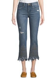 Blank Embellished Cropped Kick-Flare Jeans
