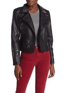 Blank Embellished Faux Leather Moto Jacket
