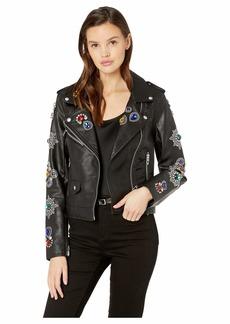 Blank Embellished Vegan Leather Jacket in Gold Digger