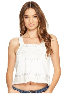 Blank Embroidered Sleeveless Shirt in Snow Flake