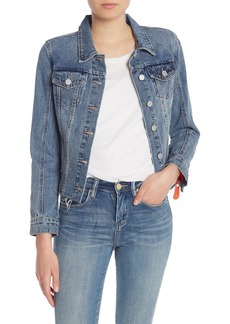 Blank Exposed Zipper Denim Jacket