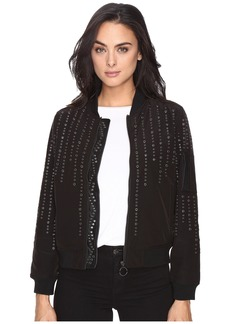 Blank Eyelet Studded Bomber Jacket in Eyelet You