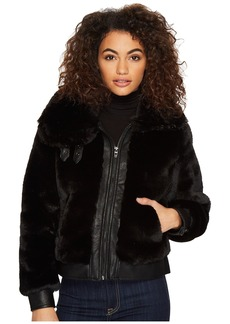 Blank Fake Fur Jacket with Vegan Leather Detail in Black Noise