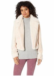 Blank Faux Fur Crop Jacket in Baby Spice