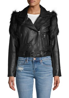 Blank Faux Fur-Trimmed Faux Leather Moto Jacket