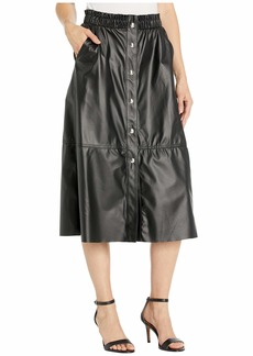 Blank Faux Leather A-Line Skirt with Snap Detail
