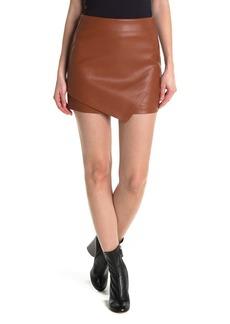 Blank Faux Leather Asymmetrical Hem Skirt
